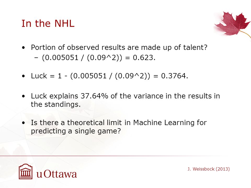 In the NHL Portion of observed results are made up of talent