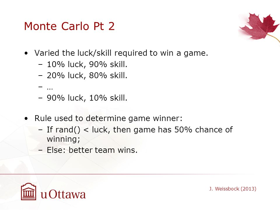 Monte Carlo Pt 2 Varied the luck/skill required to win a game.