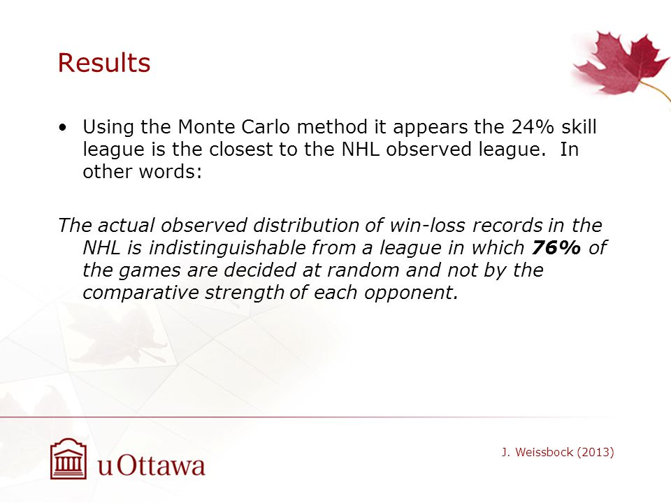 Results Using the Monte Carlo method it appears the 24% skill league is the closest to the NHL observed league. In other words: