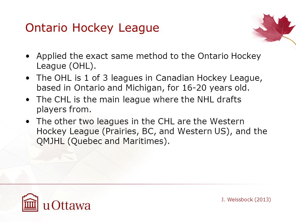 Ontario Hockey League Applied the exact same method to the Ontario Hockey League (OHL).