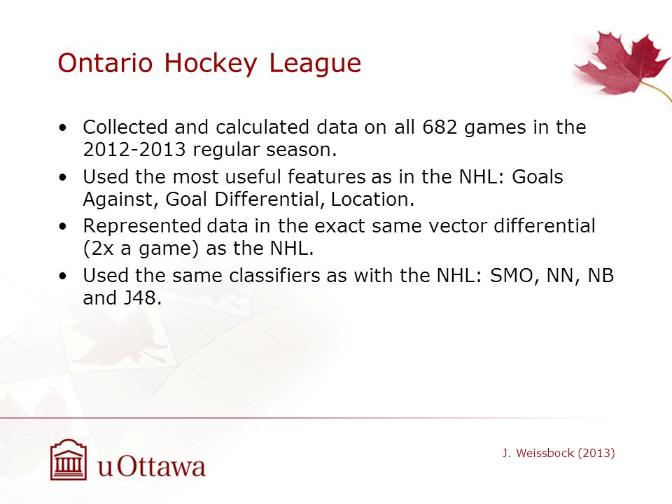 Ontario Hockey League Collected and calculated data on all 682 games in the 2012-2013 regular season.