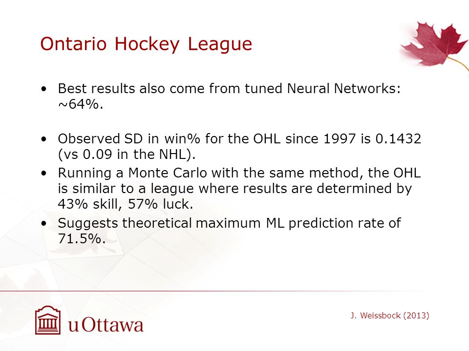 Ontario Hockey League Best results also come from tuned Neural Networks: ~64%.