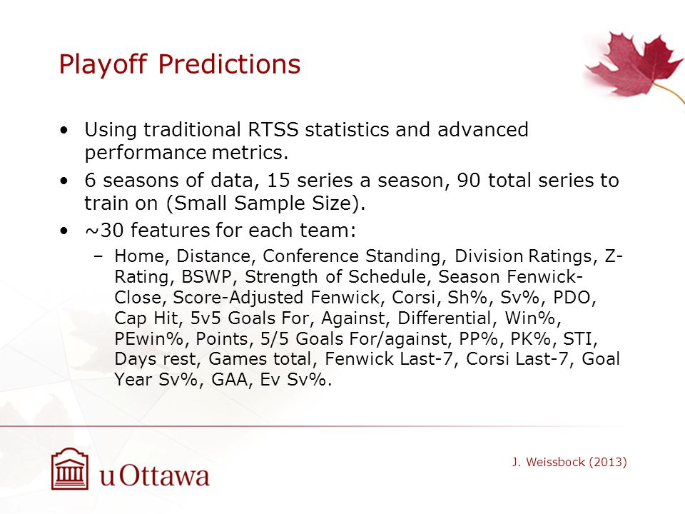 Playoff Predictions Using traditional RTSS statistics and advanced performance metrics.