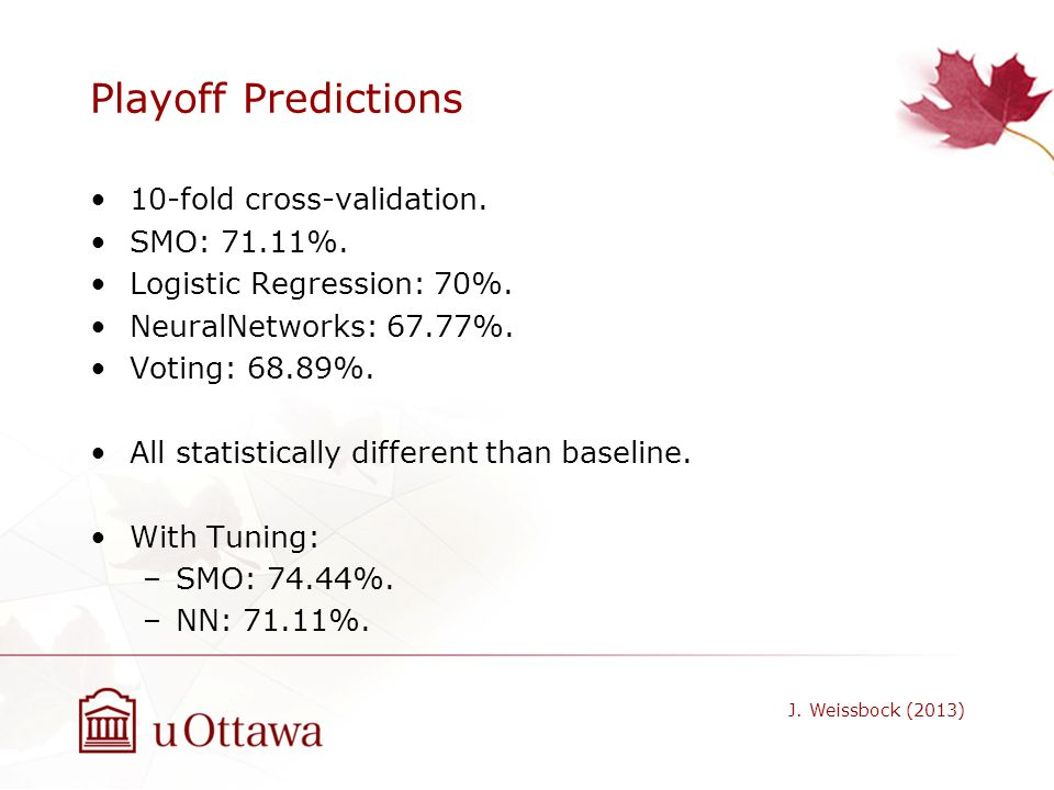Playoff Predictions 10-fold cross-validation. SMO: 71.11%.