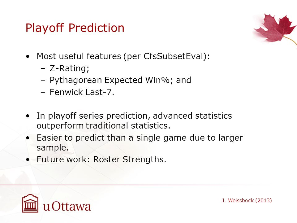 Playoff Prediction Most useful features (per CfsSubsetEval): Z-Rating;