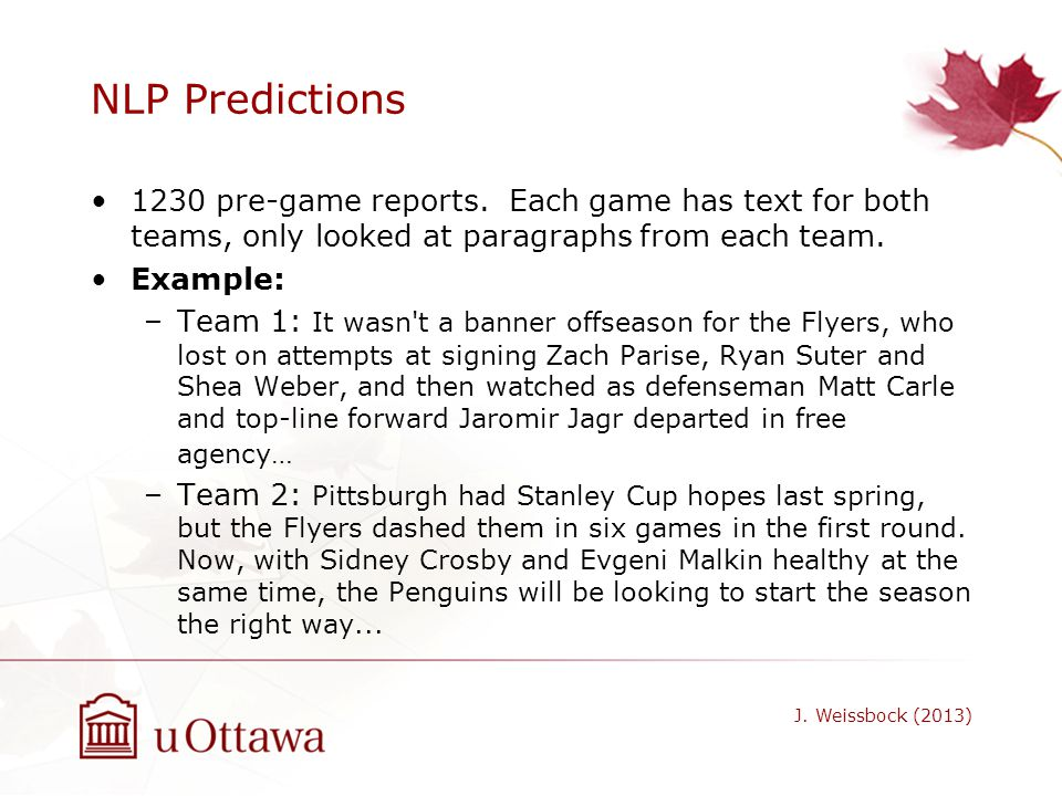 NLP Predictions 1230 pre-game reports. Each game has text for both teams, only looked at paragraphs from each team.