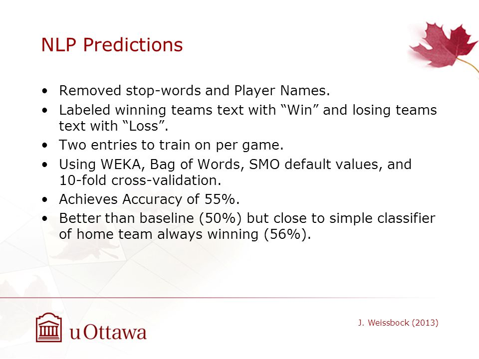NLP Predictions Removed stop-words and Player Names.