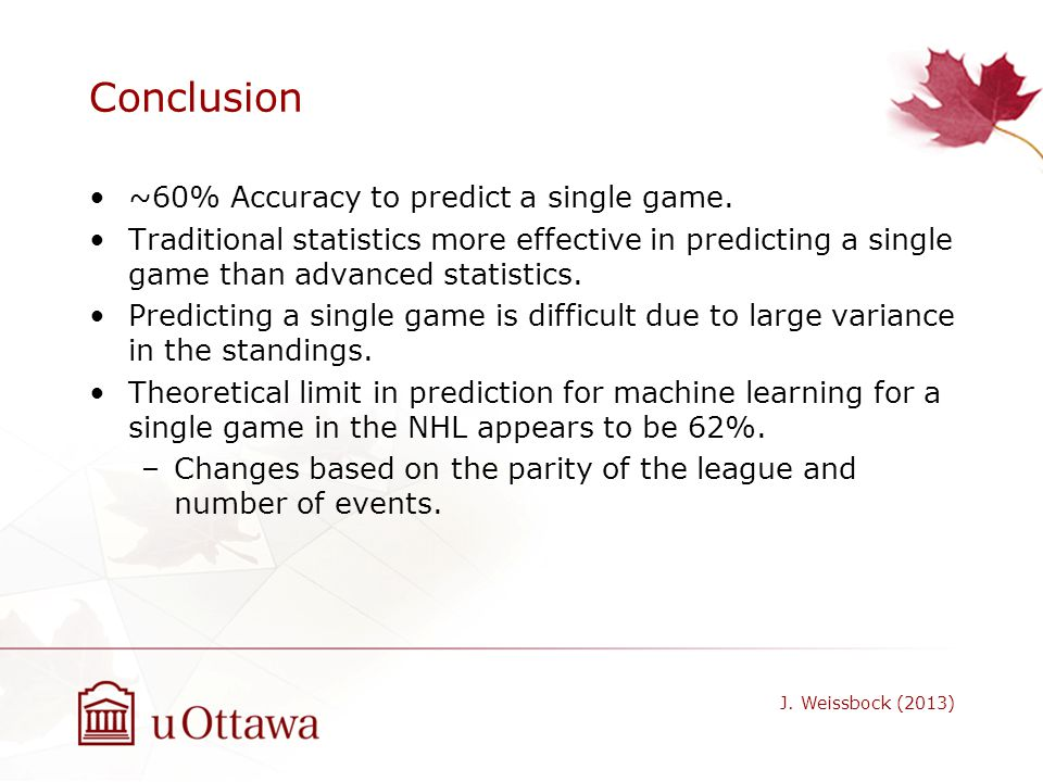 Conclusion ~60% Accuracy to predict a single game.