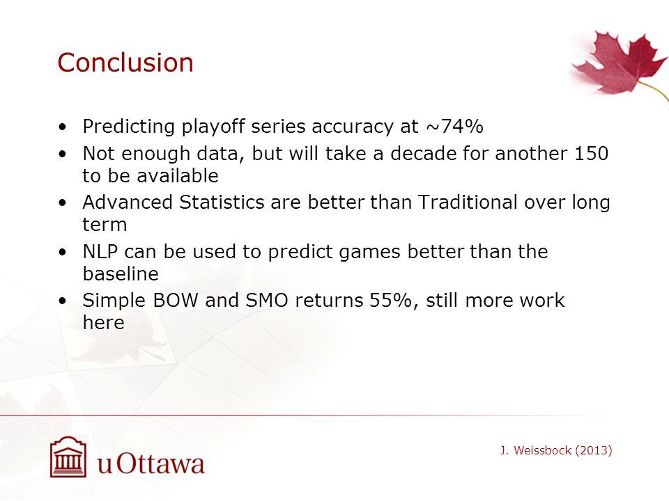 Conclusion Predicting playoff series accuracy at ~74%