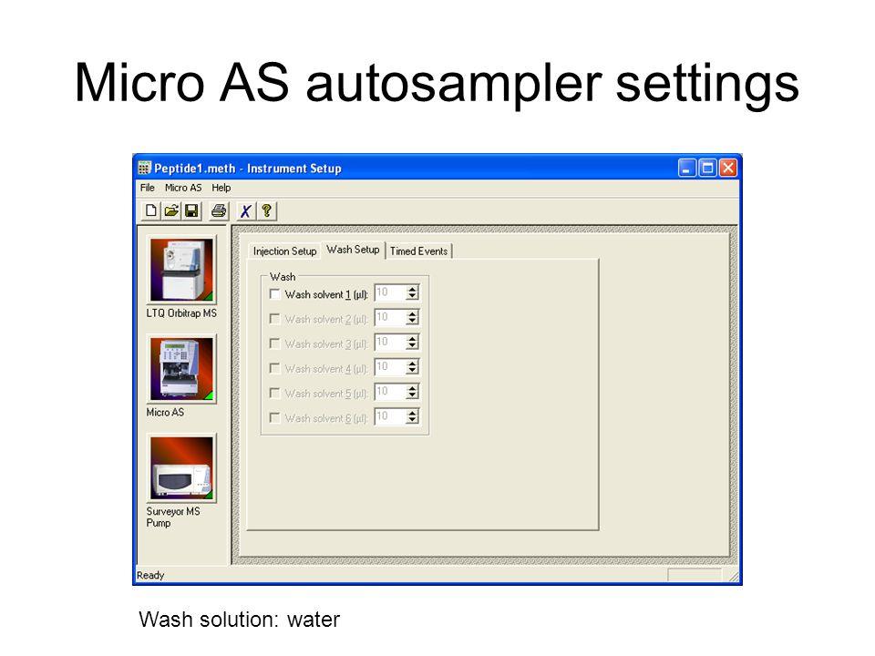 Micro AS autosampler settings