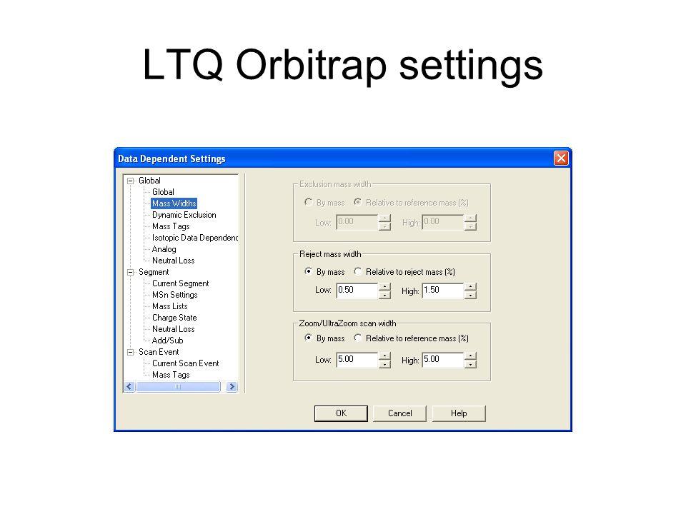LTQ Orbitrap settings
