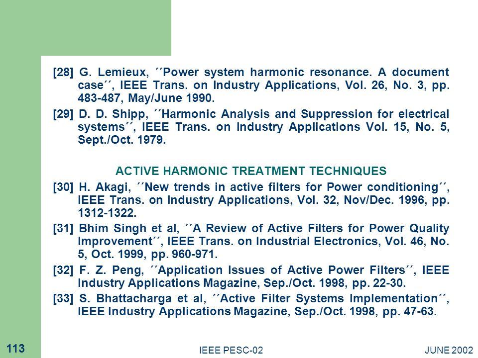 ACTIVE HARMONIC TREATMENT TECHNIQUES