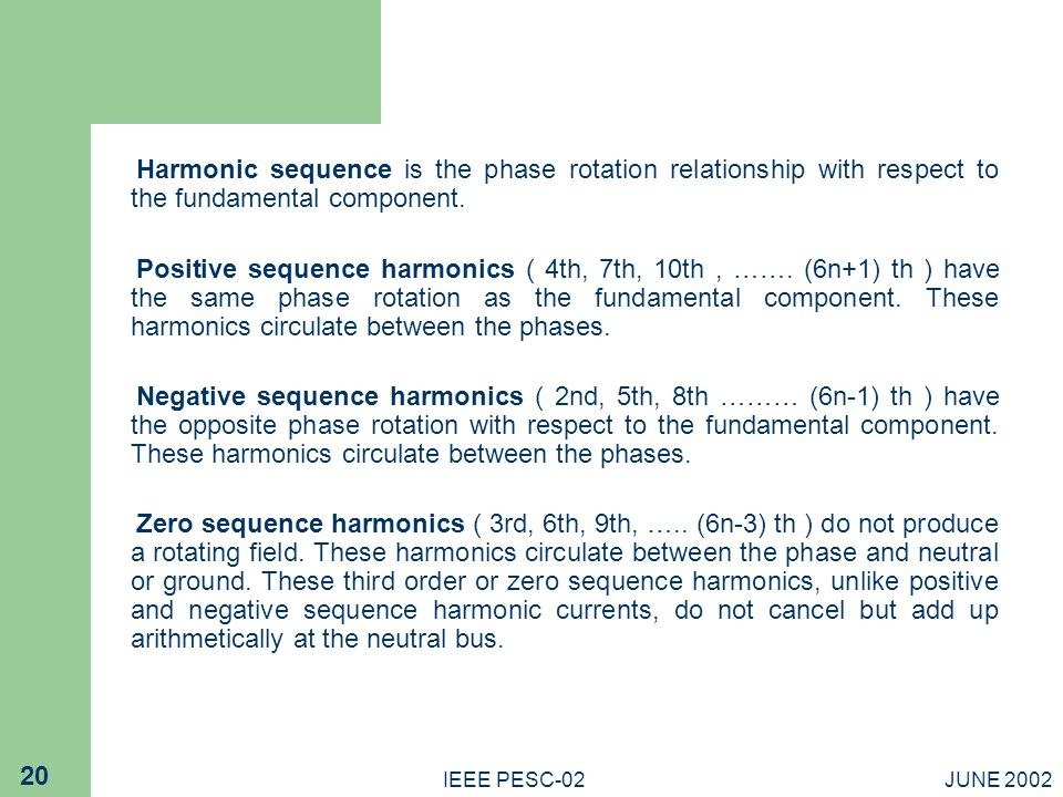 Harmonic sequence is the phase rotation relationship with respect to the fundamental component.