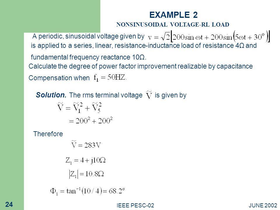 EXAMPLE 2 Solution. The rms terminal voltage is given by