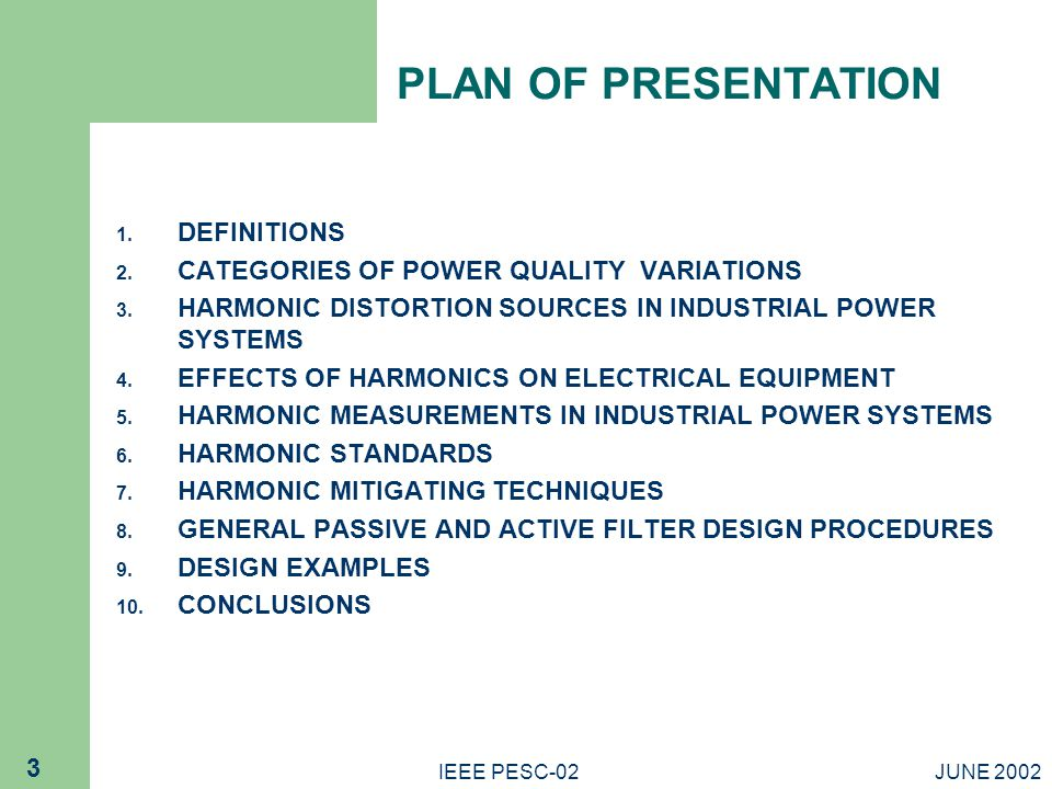 PLAN OF PRESENTATION DEFINITIONS