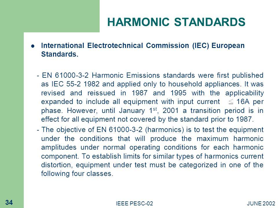 HARMONIC STANDARDS International Electrotechnical Commission (IEC) European Standards.