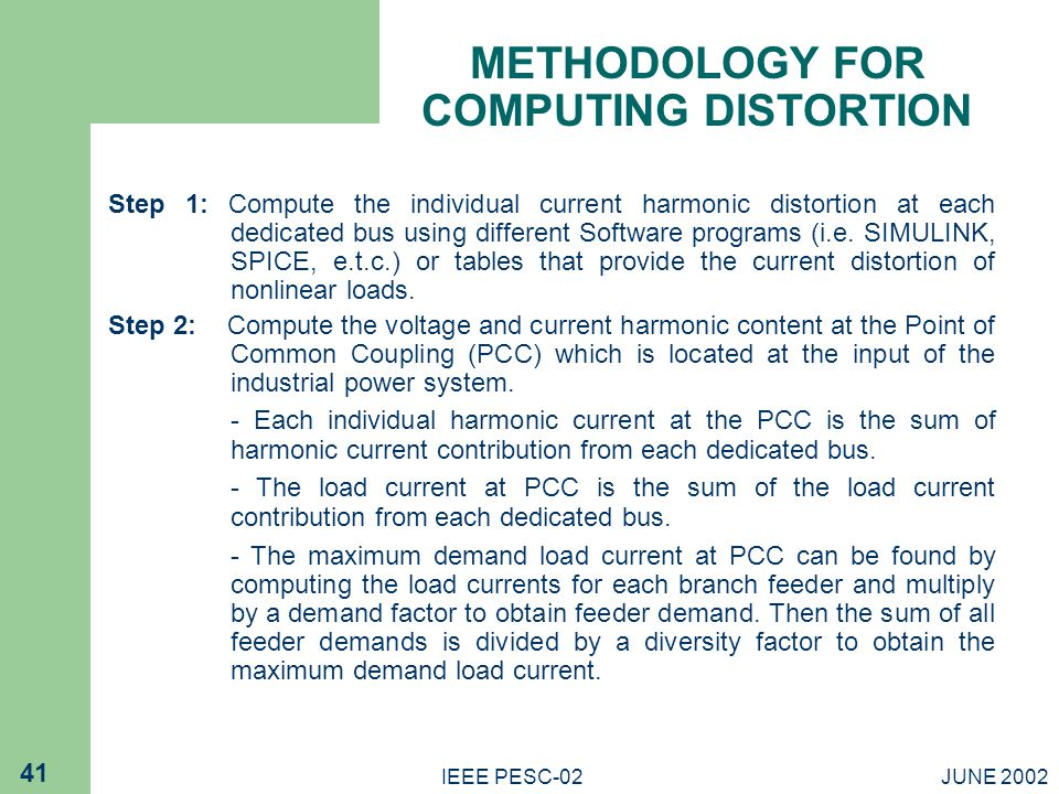 METHODOLOGY FOR COMPUTING DISTORTION