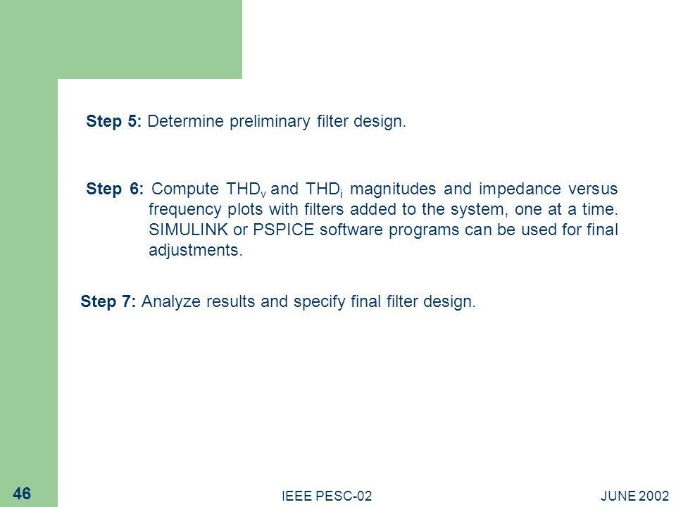 Step 5: Determine preliminary filter design.