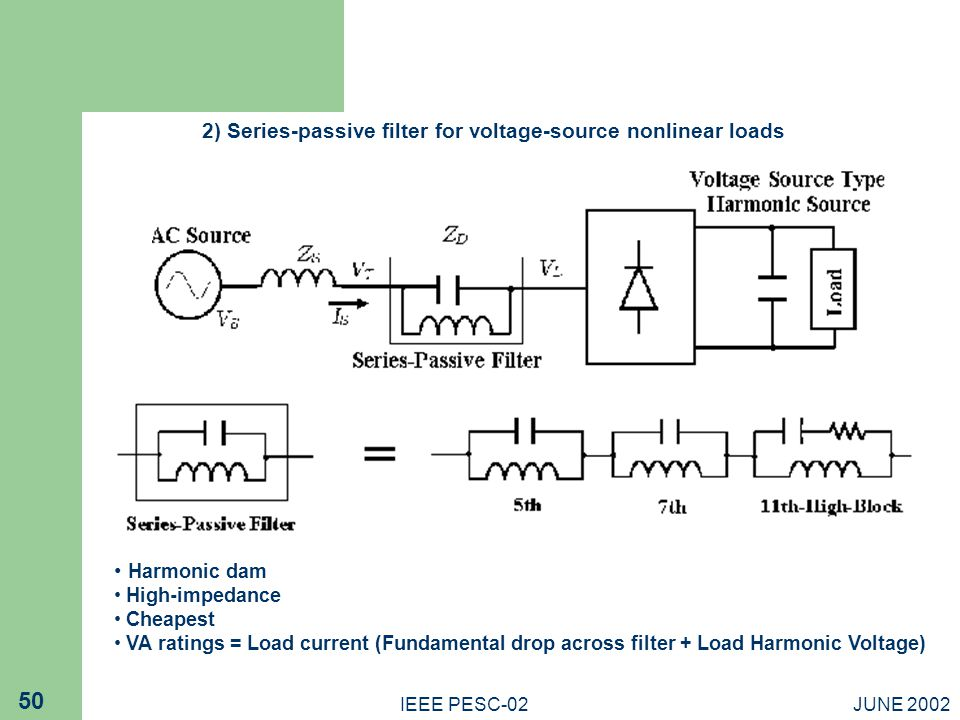 2) Series-passive filter for voltage-source nonlinear loads