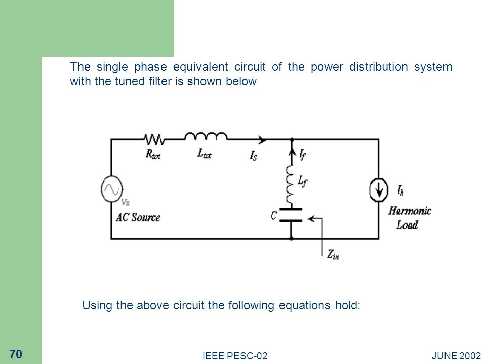 Using the above circuit the following equations hold: