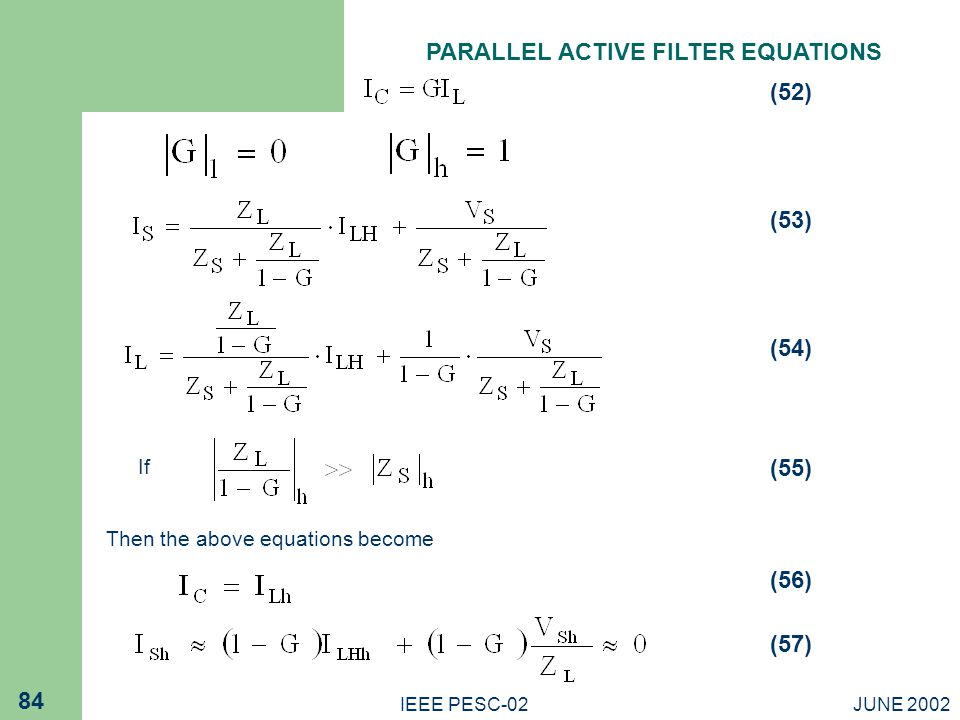 PARALLEL ACTIVE FILTER EQUATIONS
