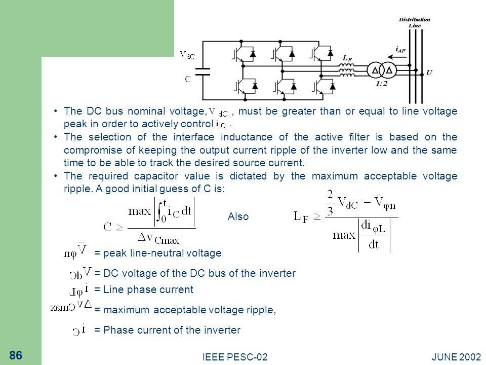 = peak line-neutral voltage
