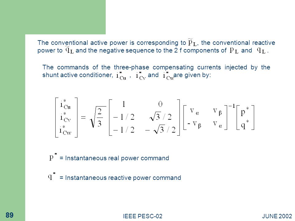 = Instantaneous real power command