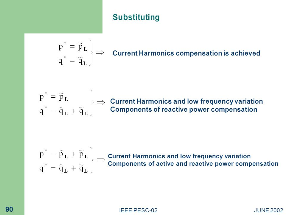 Substituting Current Harmonics compensation is achieved