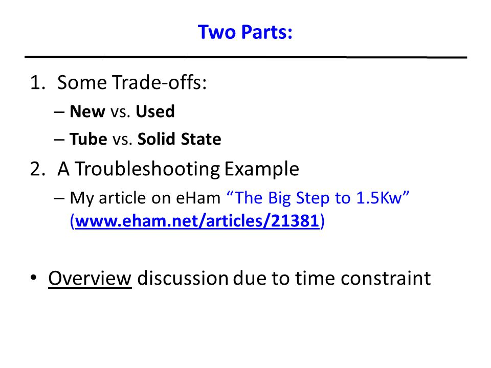 A Troubleshooting Example