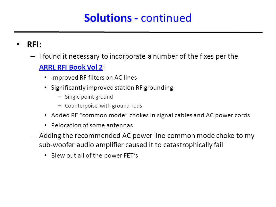 Solutions - continued RFI: