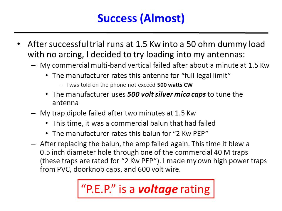 P.E.P. is a voltage rating