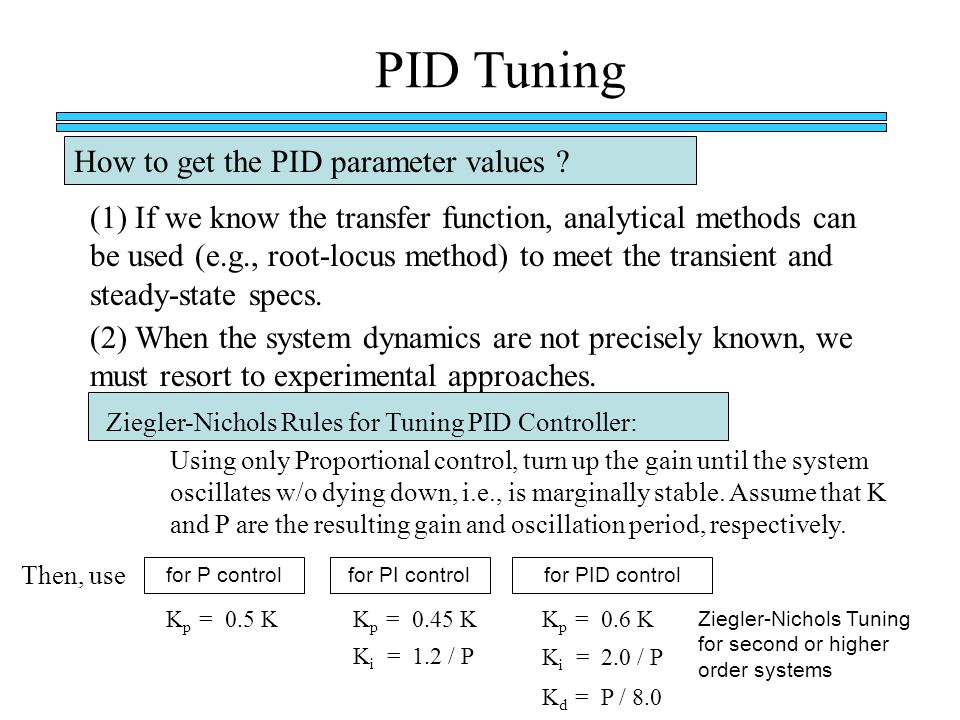 PID Tuning How to get the PID parameter values
