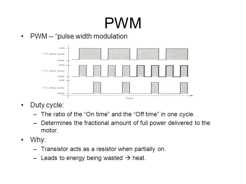 PWM PWM -- pulse width modulation Duty cycle: Why:
