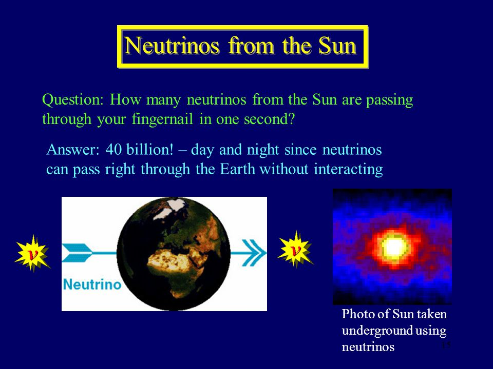 Neutrinos from the Sun Question: How many neutrinos from the Sun are passing through your fingernail in one second