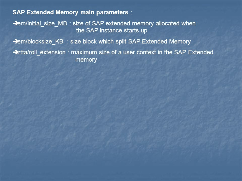 SAP Extended Memory main parameters :