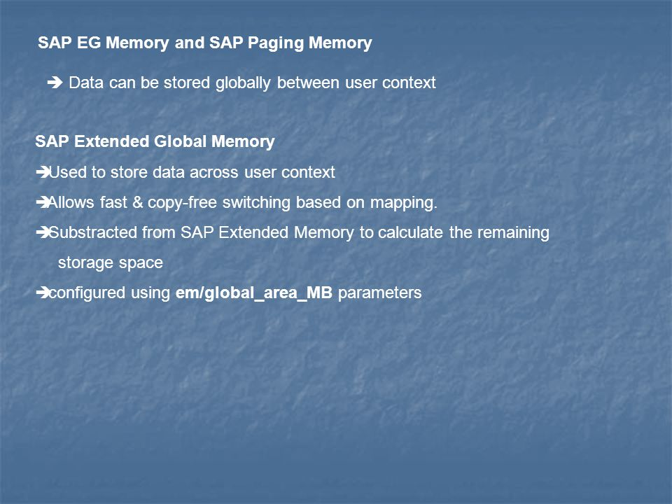 SAP EG Memory and SAP Paging Memory