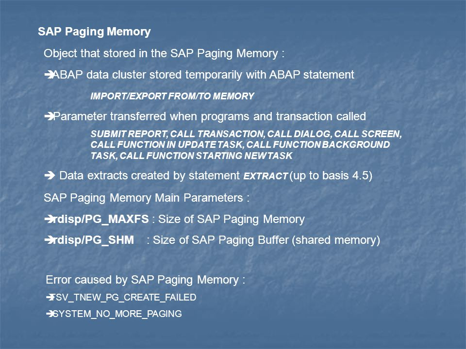 Object that stored in the SAP Paging Memory :