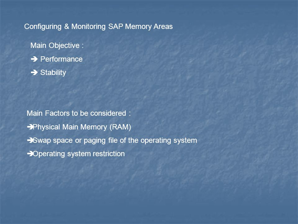 Configuring & Monitoring SAP Memory Areas