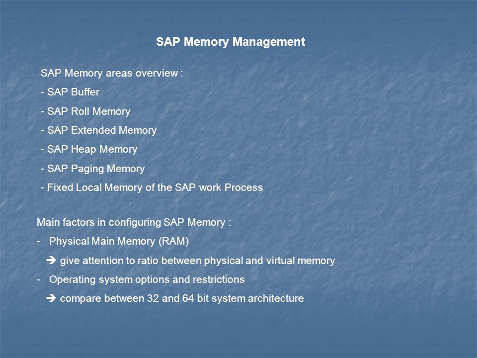 SAP Memory Management SAP Memory areas overview : SAP Buffer