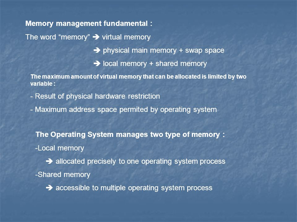 Memory management fundamental : The word memory  virtual memory