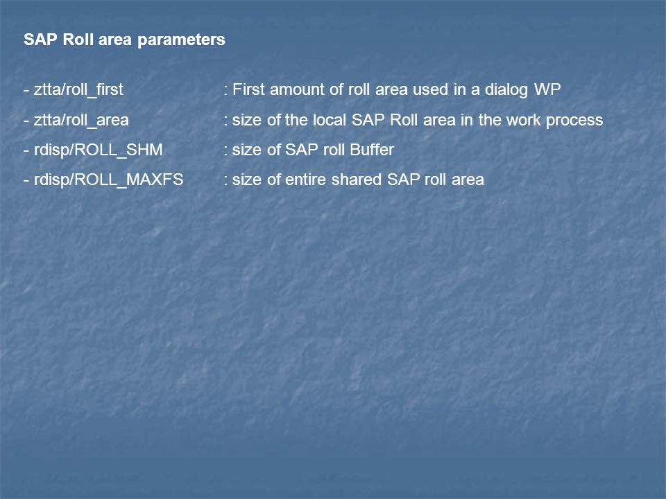 SAP Roll area parameters