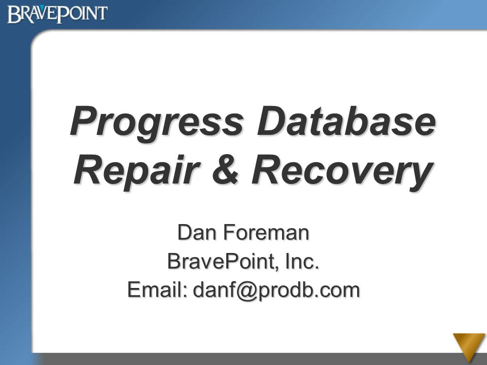 Progress Database Repair & Recovery