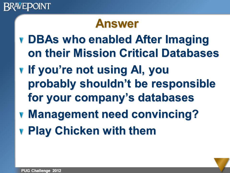 Answer DBAs who enabled After Imaging on their Mission Critical Databases.