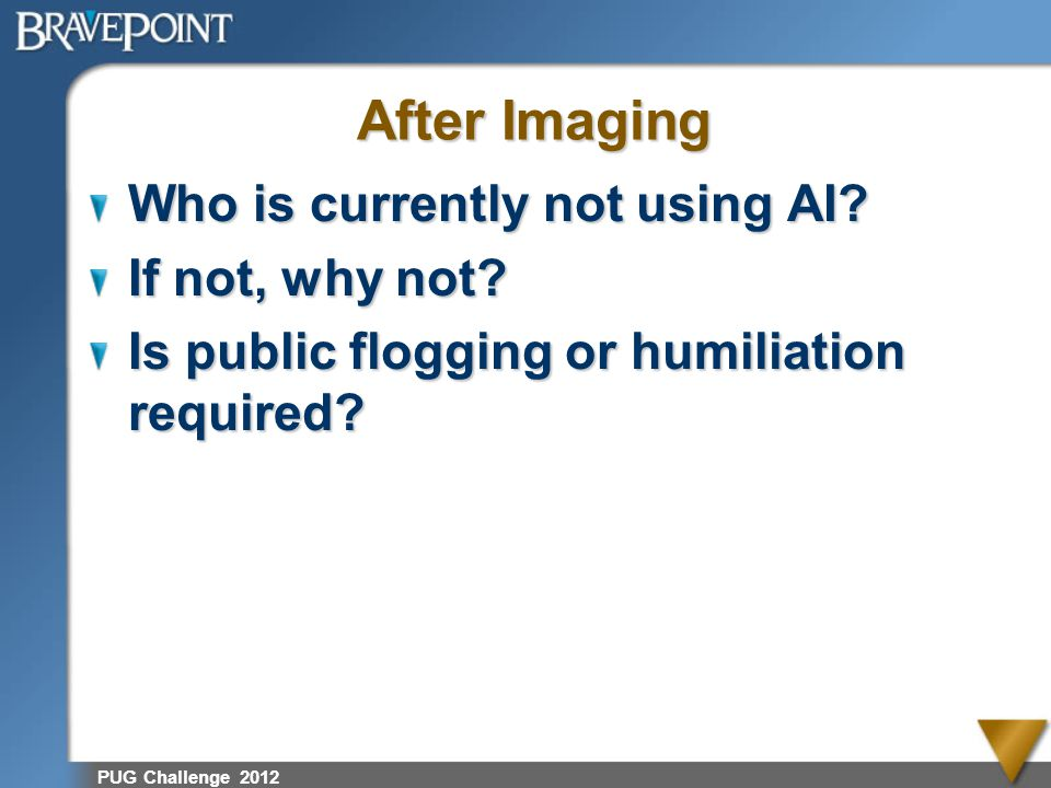 After Imaging Who is currently not using AI If not, why not