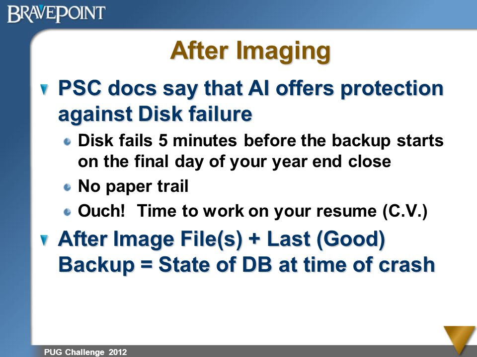 After Imaging PSC docs say that AI offers protection against Disk failure.