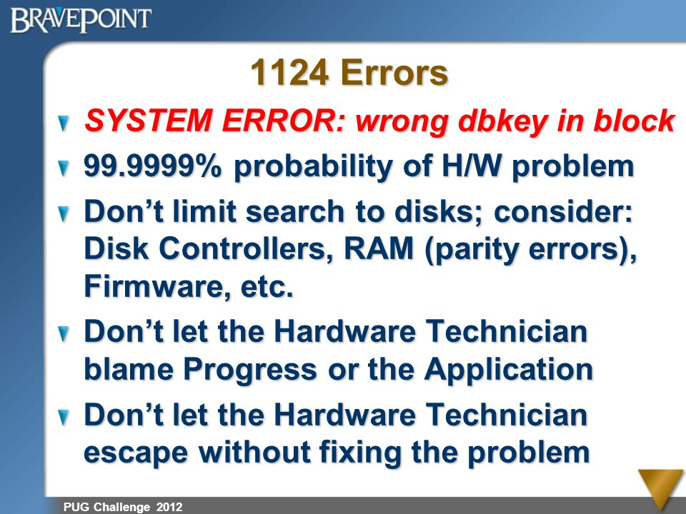 1124 Errors SYSTEM ERROR: wrong dbkey in block