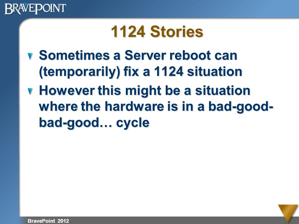 1124 Stories Sometimes a Server reboot can (temporarily) fix a 1124 situation.