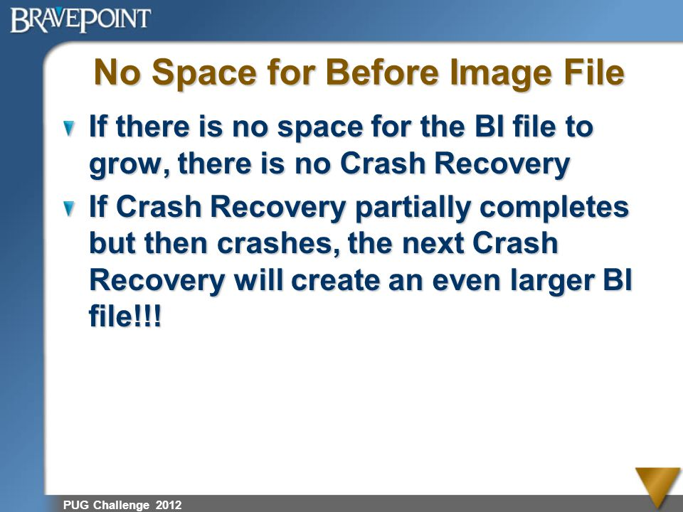 No Space for Before Image File