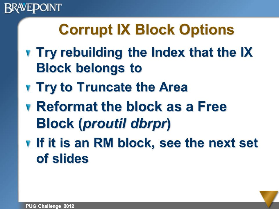 Corrupt IX Block Options