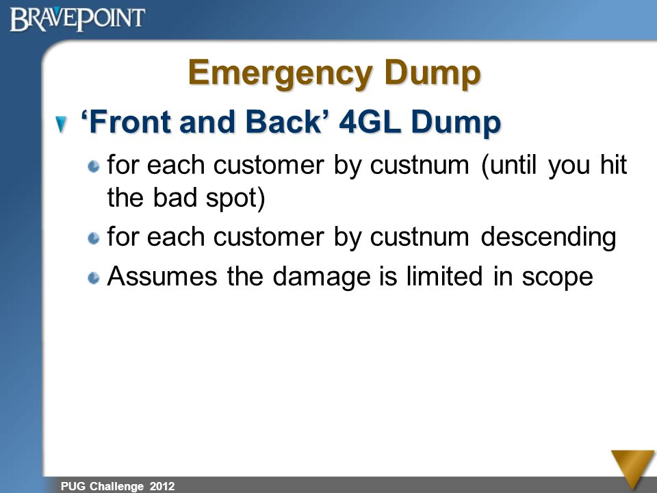 Emergency Dump 'Front and Back' 4GL Dump